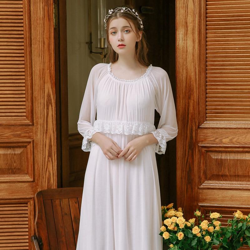2019 Saudi Arabian Women Long Nightgowns Thin Sleepshirts Lady Nightdress O Neck Lace Sleepwear Palace Princess Indoor Clothing