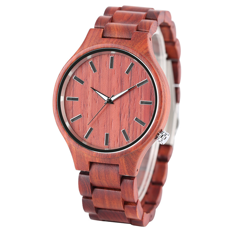 New Arrival Fashion Full Red Sandalwood Design Men's Quartz Wristwtch Bracelet Clasp Wooden Case Modern Casual Watch Gift Male chinese traditional professional performance full red sandalwood hulusi three tone detachable flute dizi key of c b with case