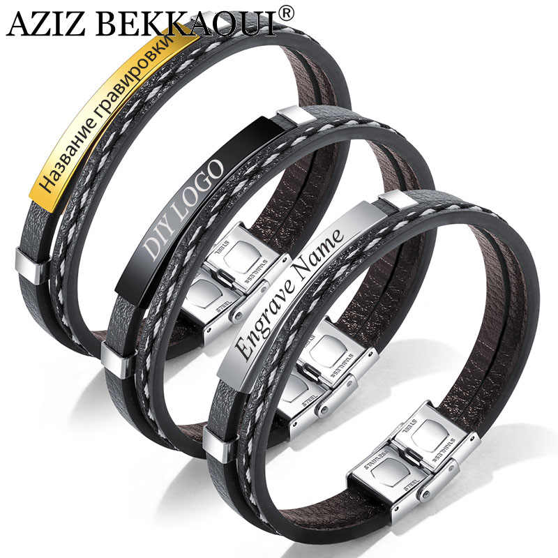 AZIZ BEKKAOUI 3 Colors Punk Engrave Name Leather Bracelet for Men Rope Chain Stainless Steel Bracelets Male Jewelry Dropshipping