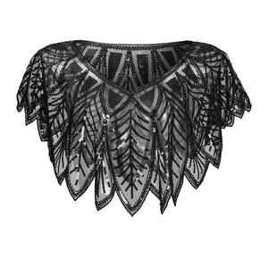 Image 5 - JaneVini Elegant Black Gold Bolero Sparkle Sequined Bridal Wraps Beaded Wedding Cape Shawls Cloak for Evening Party Accessories