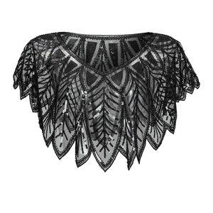 Image 5 - JaneVini élégant boléro en or noir scintillant paillettes enveloppes de mariée perlées Cape de mariage châles Cape pour accessoires de soirée