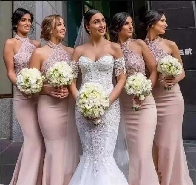2019 Fashion Pink   Bridesmaid     Dress   Custom Made Long Wedding Events Gown Lace Satin African   Bridesmaids     Dresses   1 Transactions