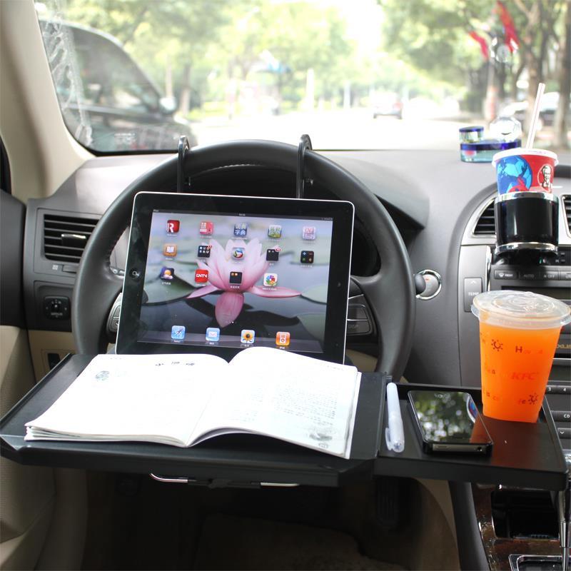 Volant de voiture ordinateur portable bureau voiture organisateur ordinateur rack avec souris plateau alimentaire porte-boissons noir bureau tiroir