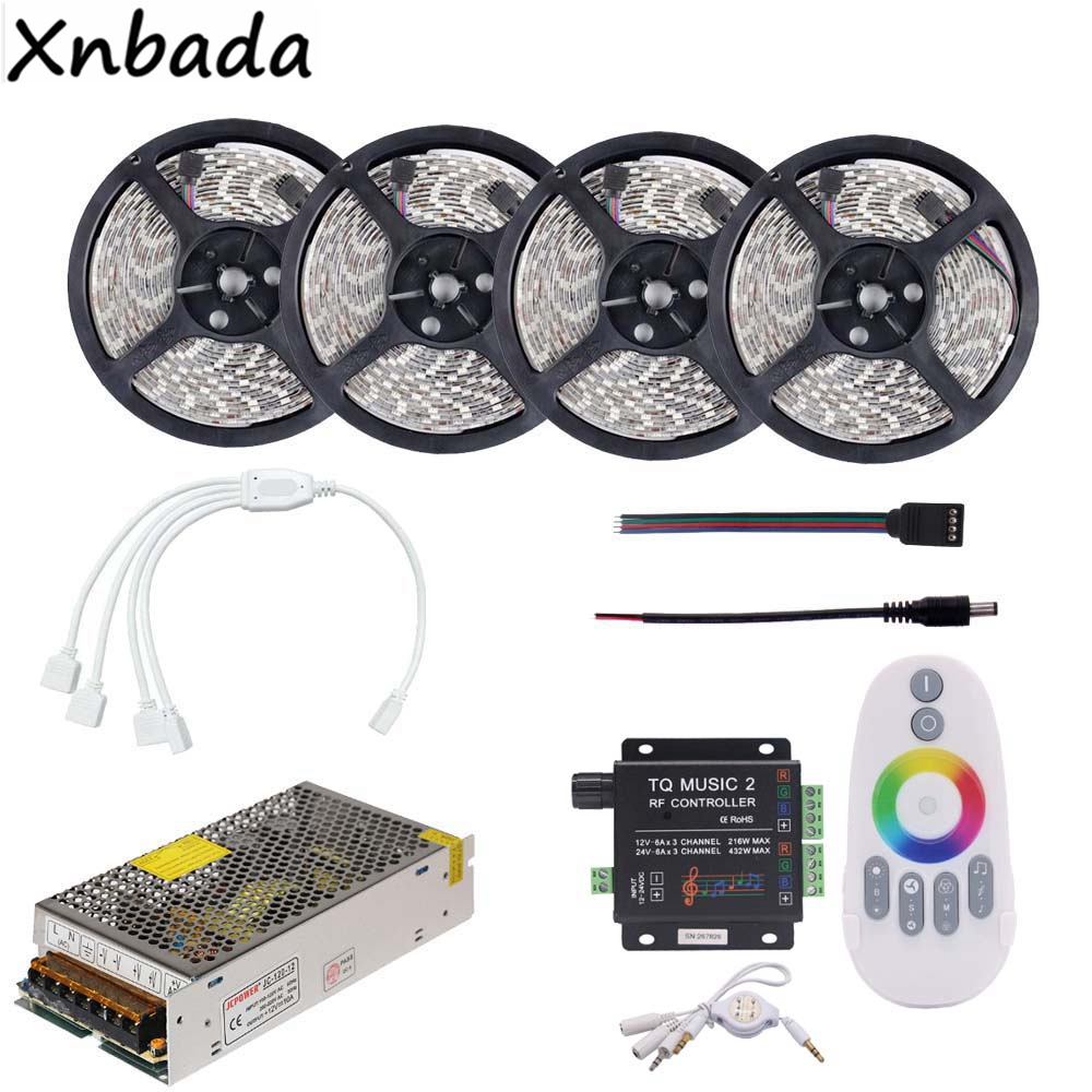 RGB Led Strip Light 2835SMD 60Leds/m Include TQ Music2 RF RGB Led Controller DC12V Power Adapter Kit 5M 10M 15M 20M good group diy kit led display include p8 smd3in1 30pcs led modules 1 pcs rgb led controller 4 pcs led power supply