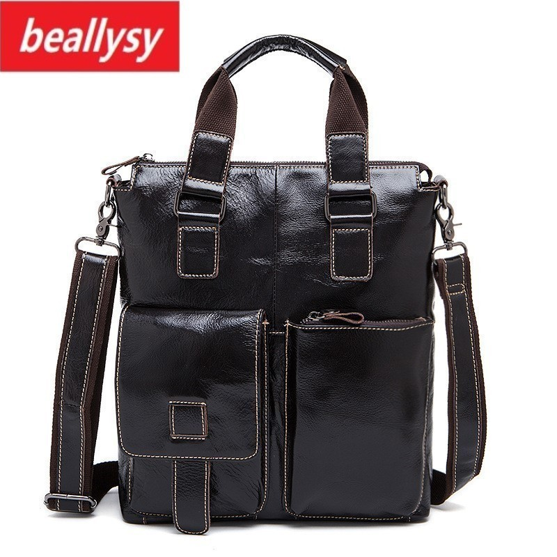 2018 New Fashion cowhide male commercial briefcase Real Leather vintage mens messenger bag casual Natural Cowskin Business bag2018 New Fashion cowhide male commercial briefcase Real Leather vintage mens messenger bag casual Natural Cowskin Business bag