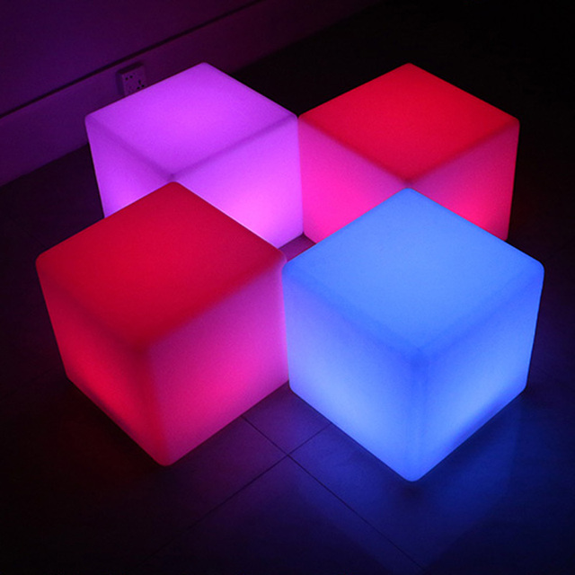 Genial 500mm Cube Chair LED Outdoor Furniture Glowing Stool 100% Waterproof