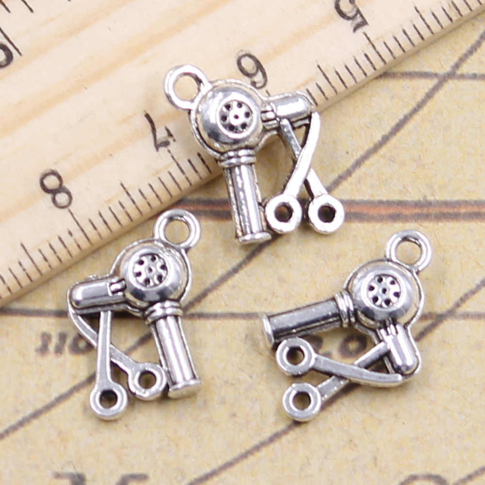 12pcs/lot Charms barbershop hair dryer scissors 15x12mm Antique Silver Pendants Making DIY Tibetan Finding Jewelry for Bracelet