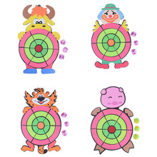 1set Outdoor Fun Toy Sports Children Sticky Ball Sandbag Throwing Target Plate Game Cartoon Animal Kindergarten Baby Indoor(China)