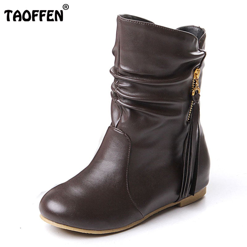 TAOFFEN women flat half short boots winter snow boot fashion quality footwear warm botas feminina shoes P1880 size 33-43
