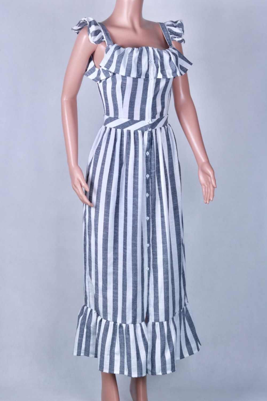 Zanzea Offerta Speciale Nuovo Maxi Vestito Ucraina Abito 2020 Vestido De Festa Delle Donne di Formato di Estate di Trasporto libero Strisce Pulsante Femminile