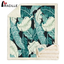 Miracille Sofa Blanket Green Tropical Leaves Palm Throw Blanket Green Sherpa fleece Fabric Printed Adults Warm Bedroom Blankets(China)