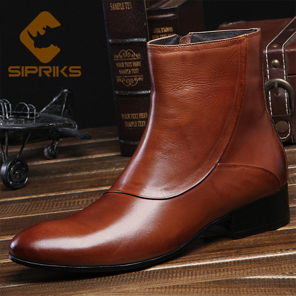 194b02aa1d7 Sipriks luxury brown short boots fashion mens zipper boots italian imported  leather boots black men zipper dress boots work shoe