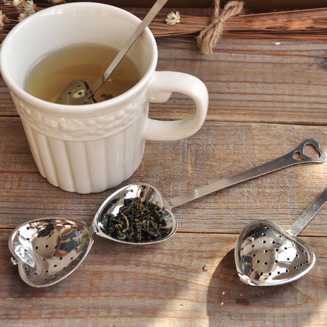 Lovely Heart Shape od nehrđajućeg čelika čaj Infuser Spoon Cjedilo Steeper Ručka tuš