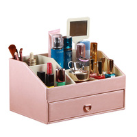 Leather Makeup Storage Box With Drawer Cosmetic Container Desktop Sundries Storage Case