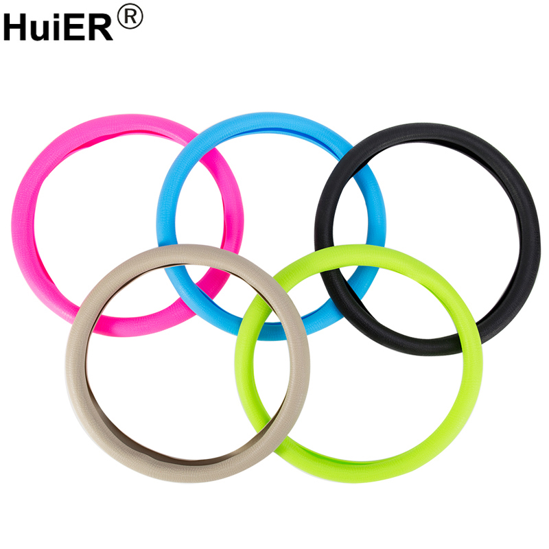 HuiER Auto Car Steering Wheel Cover Food Grade Silicone Anti-slip for 36-40CM/14.2-15.7 Inch Car Styling steering-wheel Cover huier hand sewing car steering wheel cover black leather for land rover discovery 3 2004 2009 steering wheel auto accessorie