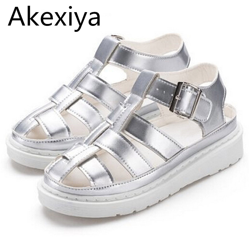 Akexiya Women Gladiator Sandals 2017 Summer Style Creepers Platform Shoes Woman Silver Buckle Flats Casual Women Shoes XWZ2490 phyanic crystal shoes woman 2017 bling gladiator sandals casual creepers slip on flats beach platform women shoes phy4041