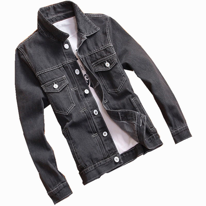 Solid Casual Slim Spring autumn Mens Denim Jacket Bomber Jacket Men High Quality Cowboy Mens Jean Jacket