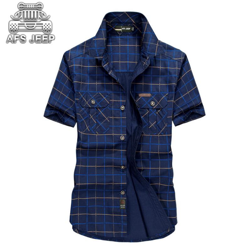 Loose Size 5XL Men Shirts 2018 Summer AFS Jeep Brand Clothing Camiseta Masculina Plaid 100% Cotton Short Sleeve men's shirt