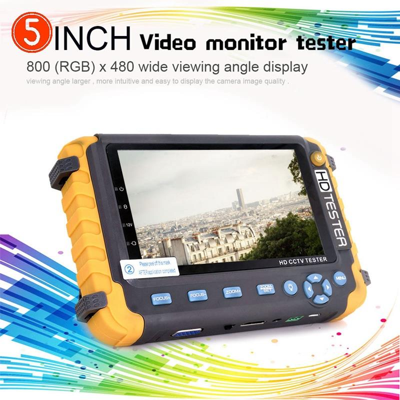 5 Inch Tft Lcd Hd 5Mp Tvi Cctv Tester Ahd Cvi Cvbs Analog Security Camera Tester Monitor In One Vga Hdmi Input Iv8W