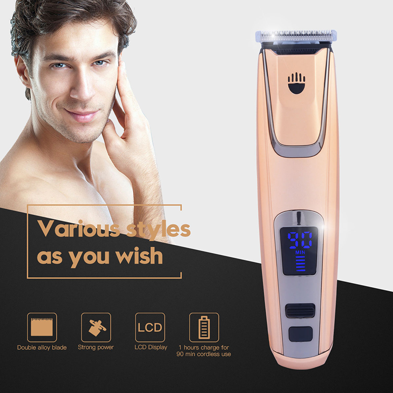 LCD Hair Trimmer Clipper Fast Rechargeable Strong Motor Ceramic Blade Electric Hair Shaving Machine Low Noise + 4 limit comb P00 110 240v low noise rechargeable hair trimmer titanium blade 0 8 2 0mm adjustable hair clipper with 4 limit comb km 6688 s43