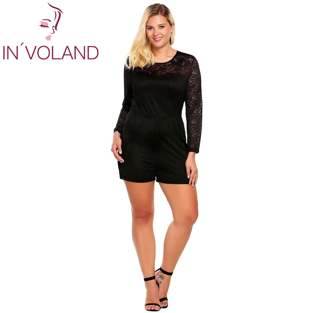 90bf214d850ea US $19.27 49% OFF|IN'VOLAND Women Lace Playsuit Plus Sizes XL 5XL Spring  Autumn Vintage Long Sleeve Hollow Rompers Slim Party Jumpsuit Big Size-in  ...