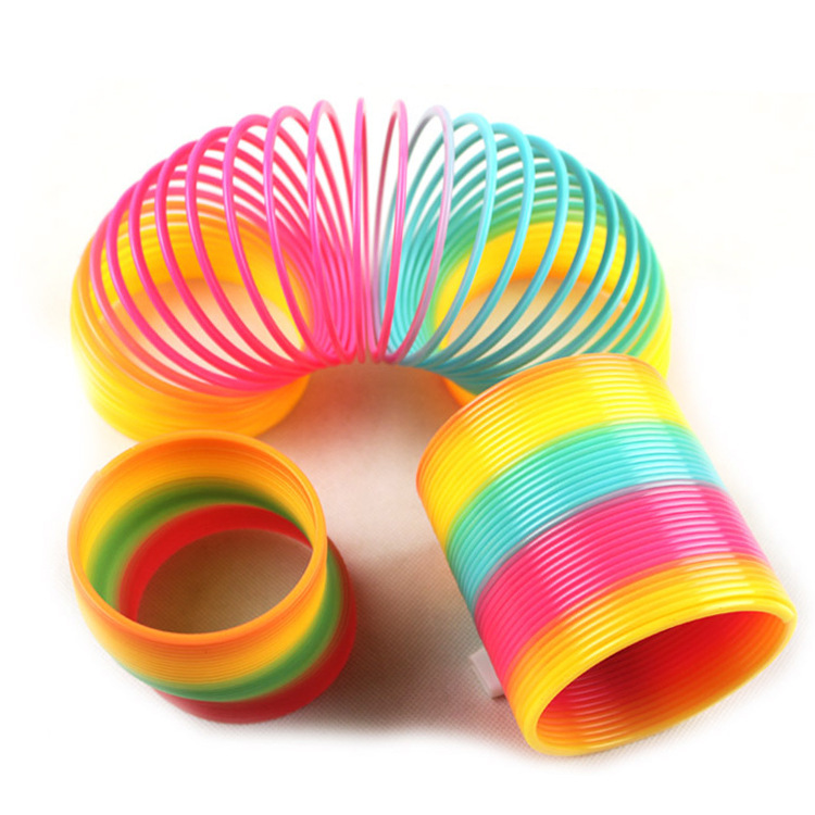 6cm Kids Magic Plastic Rainbow Spring Colorful Children Circle Coil Elastic Ring  Antistress Creative Rainbow  Antistress Toy