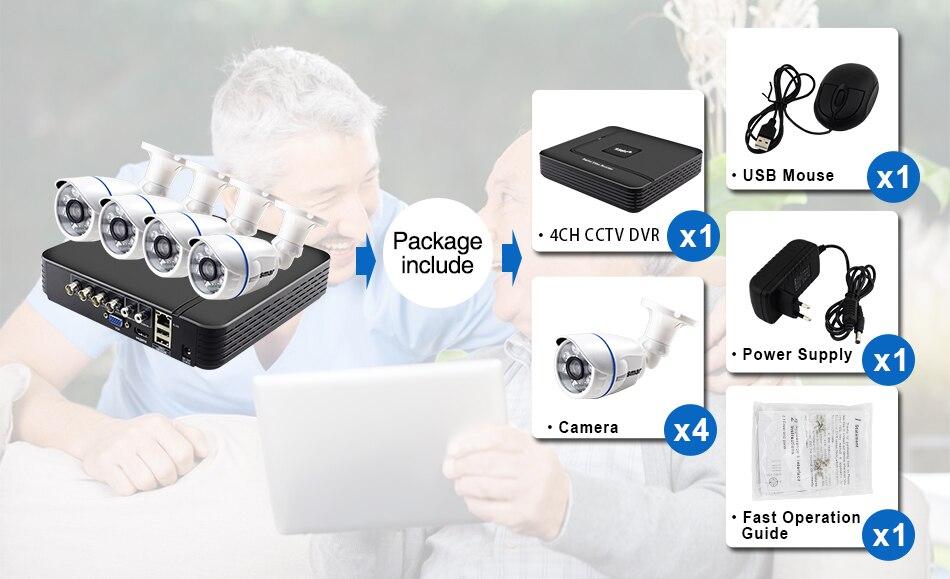Smar CCTV 4CH 720P 1080P AHD Camera Kit P2P HDMI DVR Video Surveillance System Waterproof Outdoor Security Camera Kit (8)