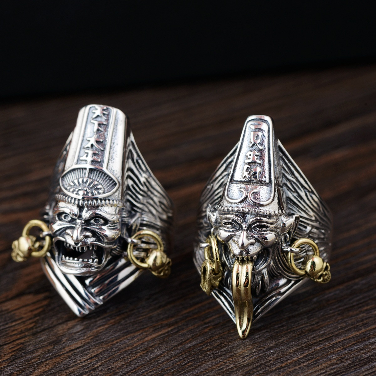 Ligne de bijoux en gros empereur d'or Thai argent S925 pur argent style antique hommes parlent bague de paix