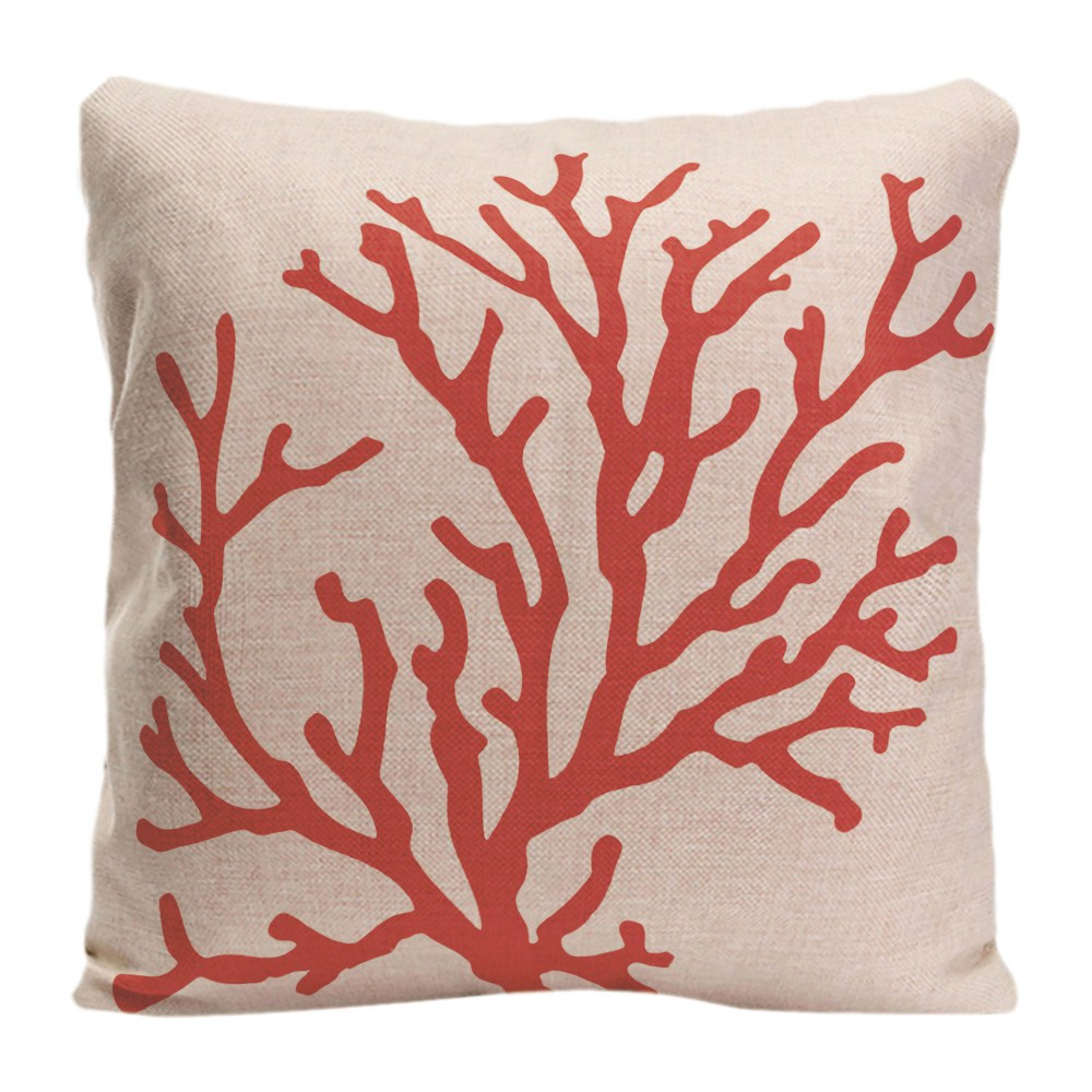 Red Coral Cushion Cover Decorative Pillow For Sofa Car Chair Covers Trees Pillow Case Cotton Linen Home Decor Pillowcase