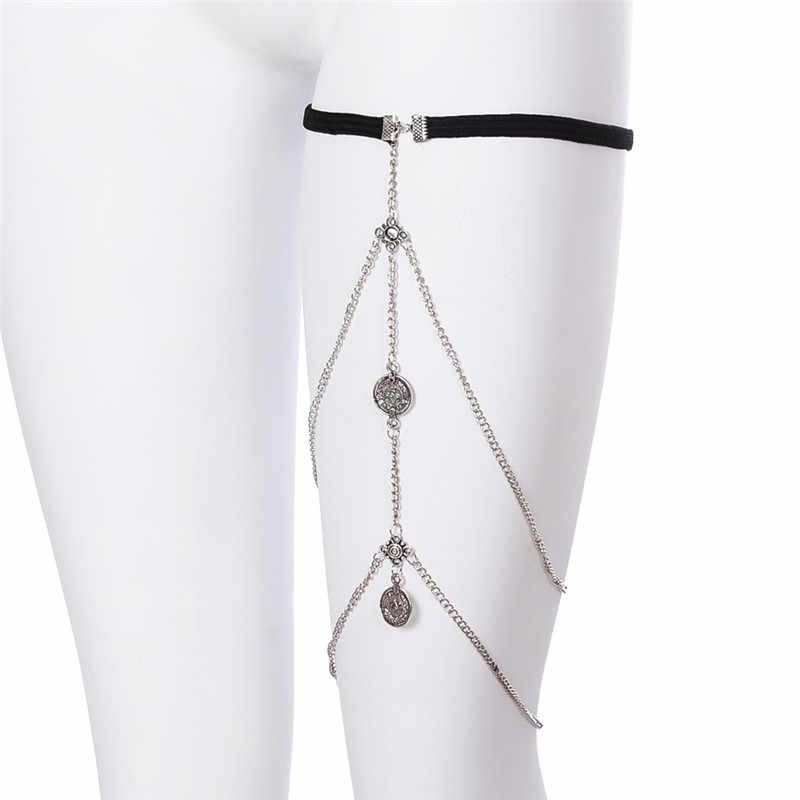 New Gothic Style Fashion Silver-Color Coins Leg Chains Unique Thigh Chains Sexy Body Jewelry Chain For Women