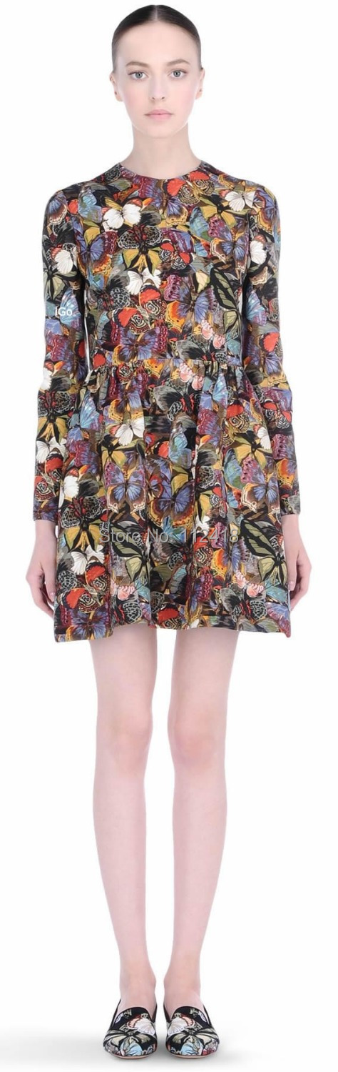 Colorful Butterfly Vintage Print Women Dress Long Sleeve Crepe Couture Dresses 8376