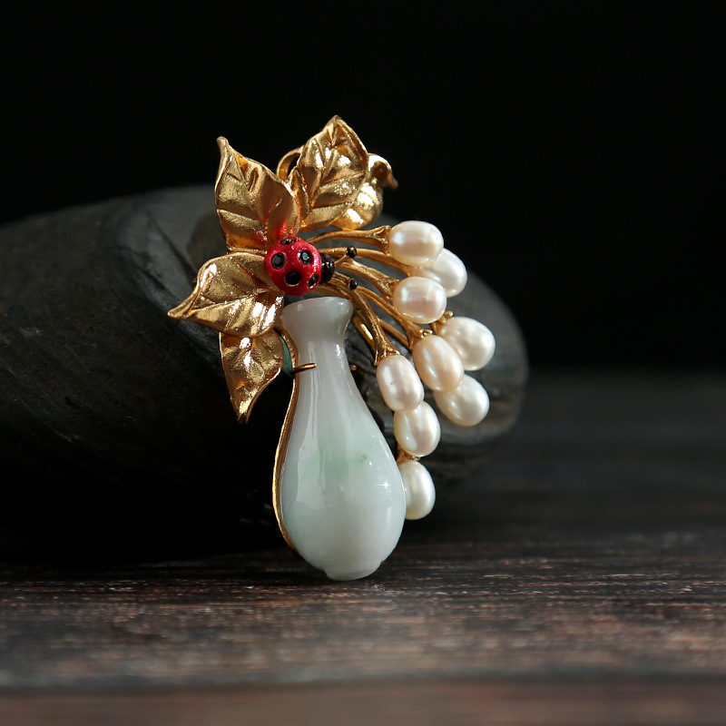Amxiu Customized Dual-use Brooch and Pendant Natural Pearls Natural Jade Jewelry Bottle Flower Brooches For Women Jewelry Pins amxiu customized natural shaped pearls brooch pins dual use women necklace pendant beeswax turquoise jewelry flower accessories