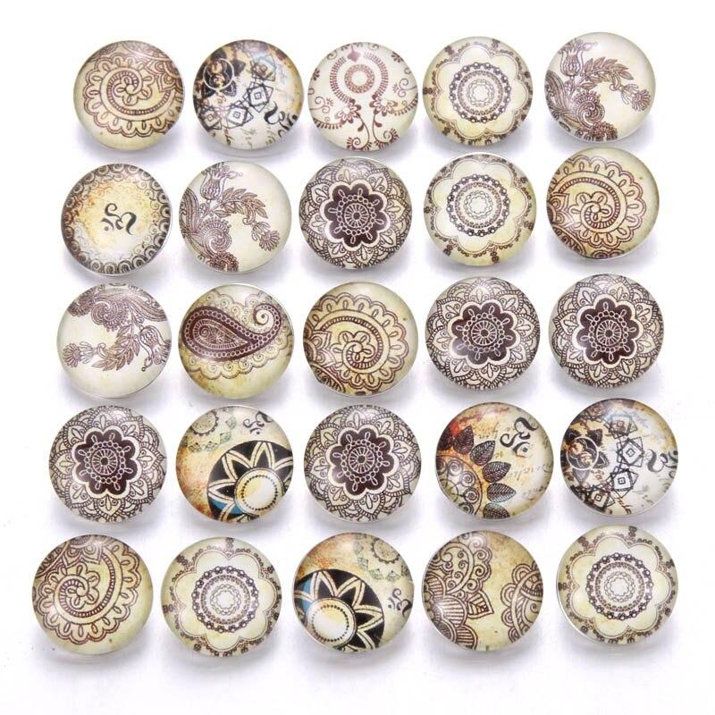 10 шт./лот, смешанные цвета и узор, 18 мм, стеклянные кнопки, ювелирное изделие, граненое стекло, оснастка, подходят, оснастки, серьги, браслет, ювелирное изделие - Окраска металла: AB212