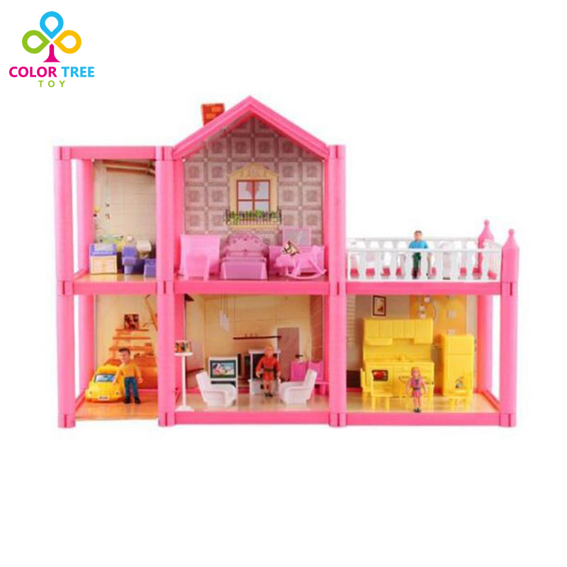 ФОТО 3D Doll House Kids Toys Mini Simulation Villa With Animal Characters Furnitures Assembled Villa Christmas Gifts For Children