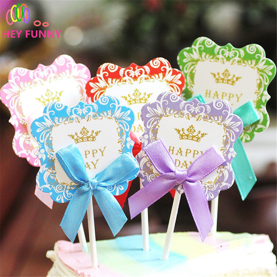 HEY FUNNY New 5pcs cute bow tie Photo Props booth photograph Cake Topper Picks baby shower birthday party wedding decoration