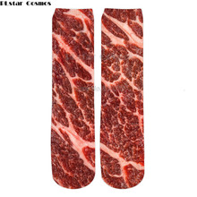 PLstar Cosmos 2018 New Fashion Mens 3d Socks Food Raw Meat/ Beef/Pizza/Fries Printed Men/Women Casual Straight socks Funnny