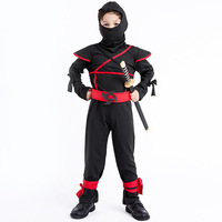 Japanese Ninja Child Masked Warrior Impersonate Black Ninja Suit Stage Outfit Disfraces Halloween Masquerade Kid Clothes