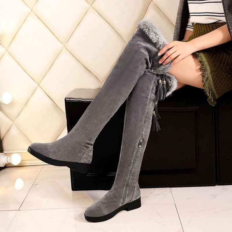 QPLYXCO Yeni satış moda Büyük Boy 34-43 Rusya Kadın Kış sıcak Kar botları diz üzerinde Uzun Botas bayanlar kürk ayakkabı C9-7