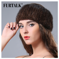 FURTALK Mink Fur Winter Headwear for Women Warm Knitted Natural Mink Fur Headband Fur Hat Female Fur Hair Accessories 2019