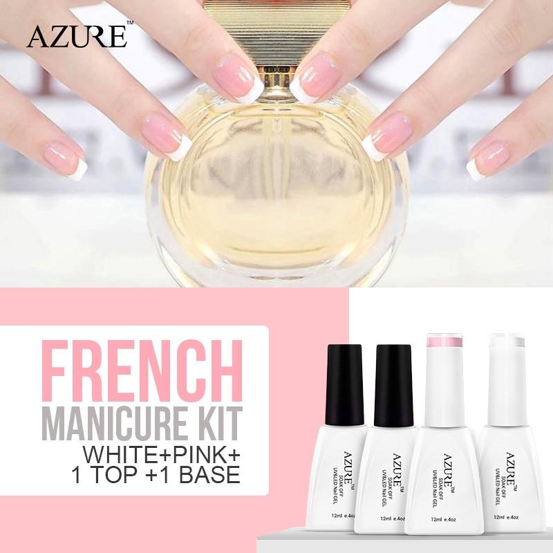 Azure Nail Polish White Pink French Manicure Nail Top Base ...
