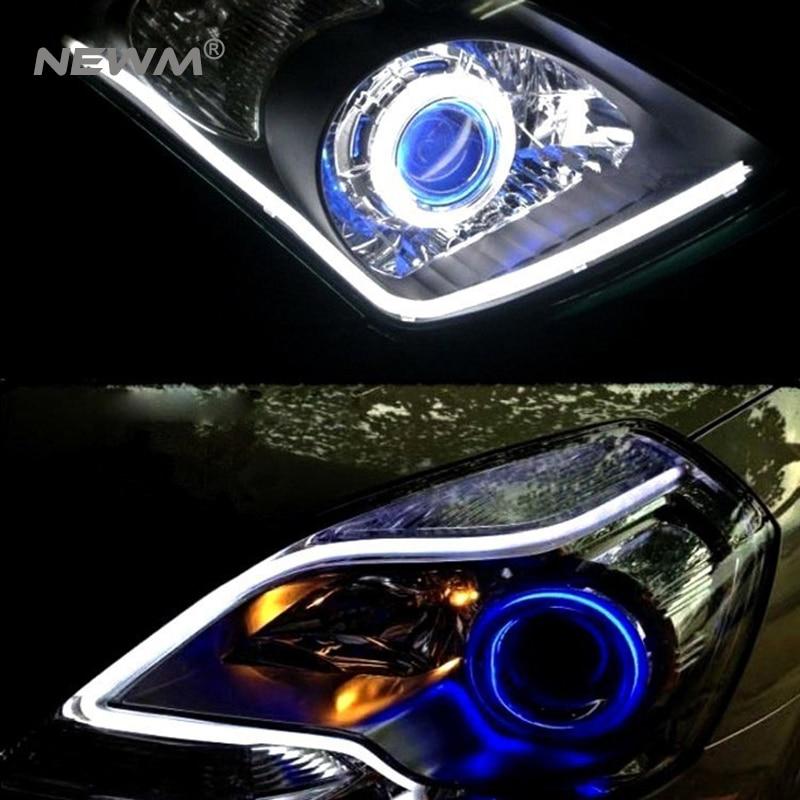30cm 45cm 60cm 85cm DRL Flexible LED Tube soft tear Strip Style Daytime Running Lights Car Headlight Turn Signal Parking Lamps