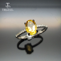 TBJ,Simple Elegant Classic Small ring with natural citrine ov6*8mm in 925 sterling silver gemstone ring for women girl as a gift
