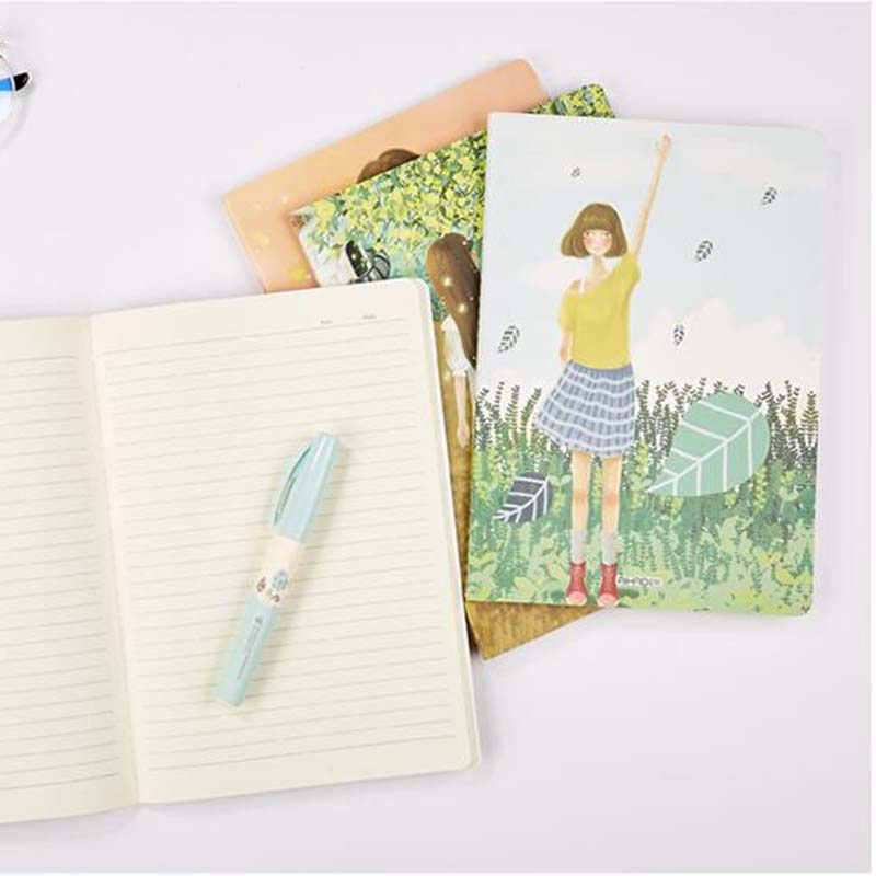 B5 Large Notebook Students Writing Copyook Planner Kawaii Kids Diary Stationary Notebook Gifts notebook season b5 18k26