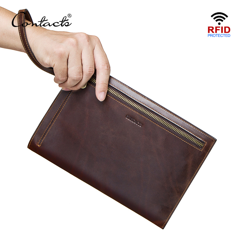 CONTACT'S men crazy horse genuine leather long wallet RFID slim clutch for man card holders phone purse male wallets top quality men wallet male cowhide genuine leather purse money clutch card holder coin short crazy horse photo fashion 2017 male wallets