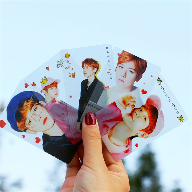 Youpop KPOP EXO BAEKHYUN Album Transparent Photo Card Hip Hop Self Made PVC Cards Self Made LOMO Card Photocard XK474