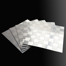 Mosaic 3D Metal Wall Tile Peel and Stick Self adhesive Backsplash DIY Kitchen Bathroom Home Decoration Wall Sticker Dropshipping fashion stainless steel metal mosaic glass tile kitchen backsplash bathroom shower background decorative wall paper wholesale
