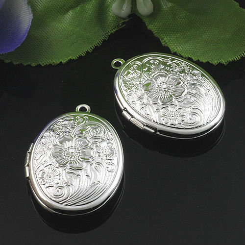 2pcs Wholesale SILVER Plated 23*29mm Oval PHOTO LOCKET Blank For Necklace Pendant&Charm DIY Necklace Jewelry Making