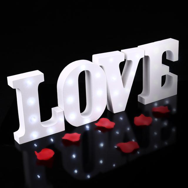 Nova ledertek lettre lumineu interior romântico lâmpada de parede noite branco alfabeto de madeira carta levou sinal marquise acender a luz da noite