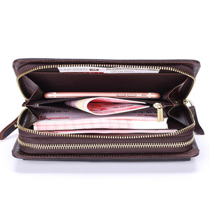 Image 4 - Business Genuine Leather Clutch Wallet Men Long Leather Phone Bag Purse Male  Large Size Handy Coin Wallet Card Holder Money Bag