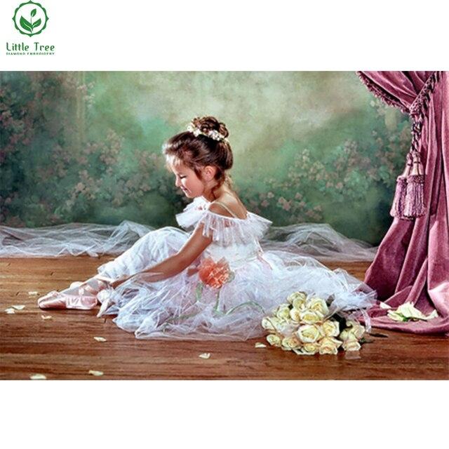Diy Diamond Painting Human Character Little Ballerina Room Decor Wall Sticker Canvas Oil Crystal Handicraft